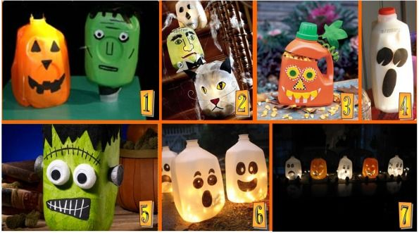Halloween Milk Jug Craft Projects  ~  1.Monster Jug Heads, 2.Eerie Luminarias, 3.Gourd O, 4.Ghost Blood, 5.Frankenstein Milk Jug, 6.Spirit Jugs, 7.Halloween Milk Jug Table Centerpiece