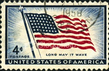 Vintage US Flag Stamp