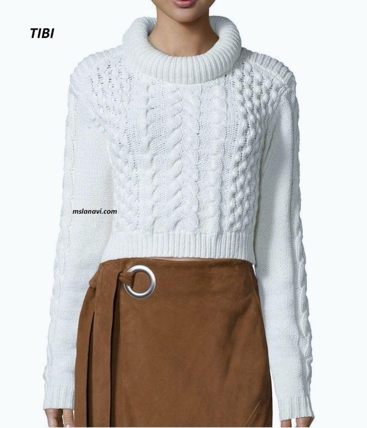 Короткий вязаный свитер от TIBI - СХЕМА http://mslanavi.com/2016/08/korotkij-vyazanyj-sviter-ot-tibi/