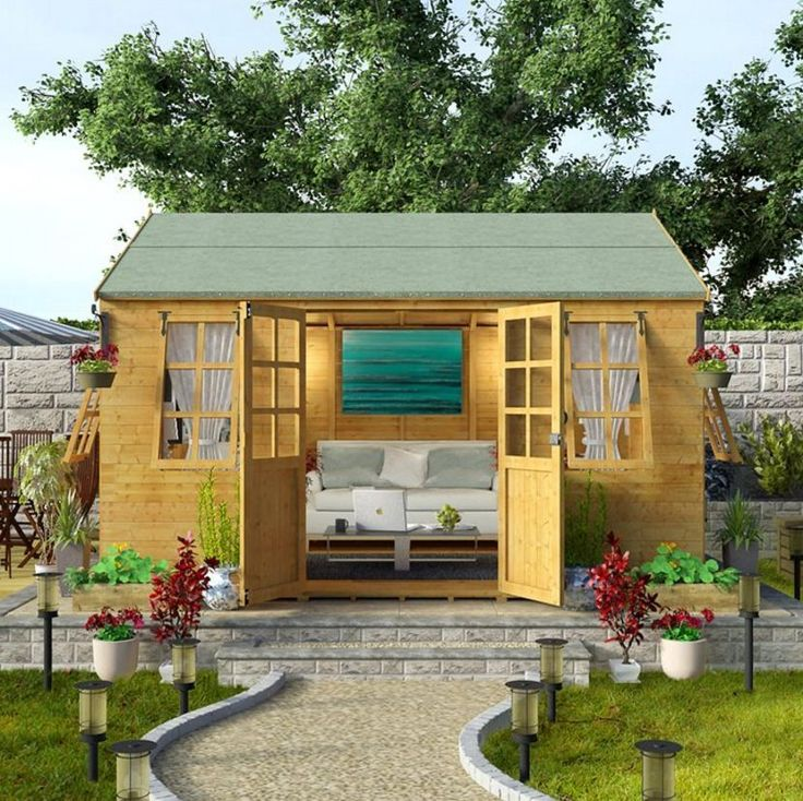 Design Outdoor LARGE Summer House Garden Workshop Patio Shelter Cabin Shed 12x10