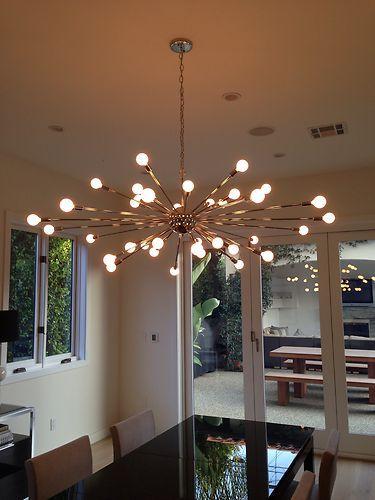 Polished Chrome Atomic Sputnik Starburst Ceiling Light Chandelier Fixture Lamp