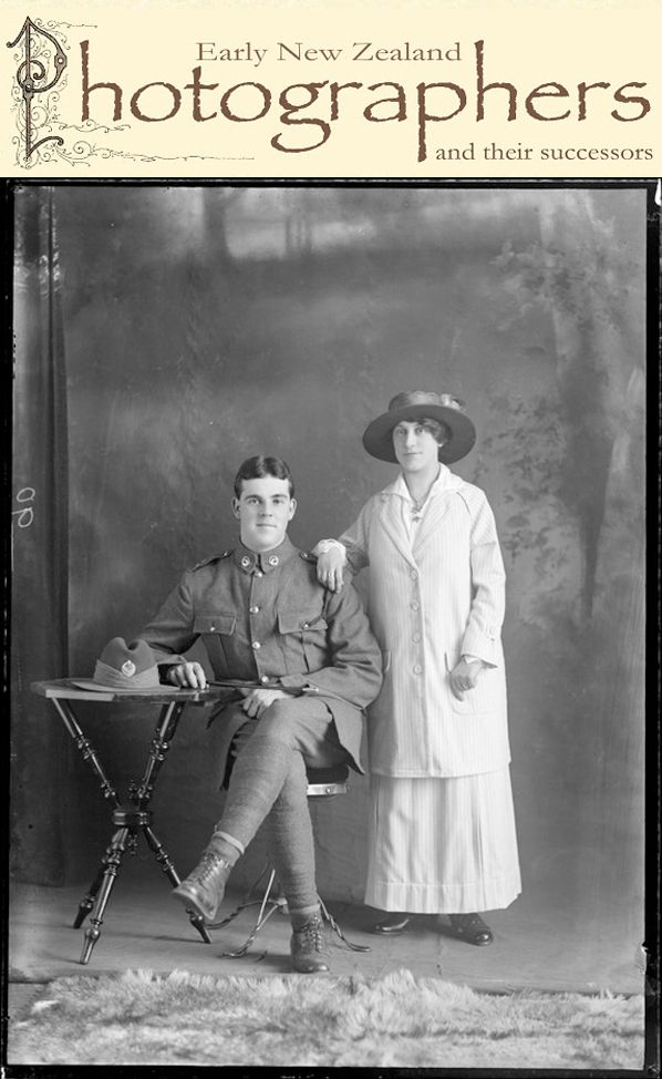 Search for your New Zealand photographers here. Photo of Robert Hartley Goodall and Virtue Hannah Goodall nee Gibbs c1916.
