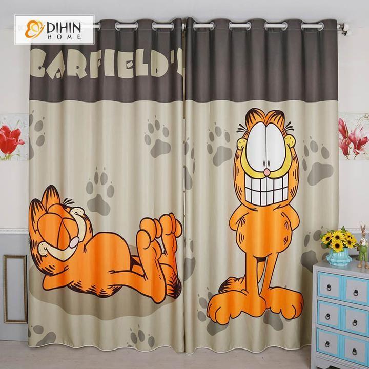 Dihin Home 3d Printed Garfield Blackout Curtains Window Curtains