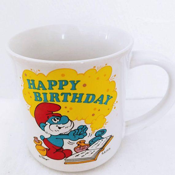 Vintage Smurf Mug Happy Birthday 1980s Made in Korea // W
