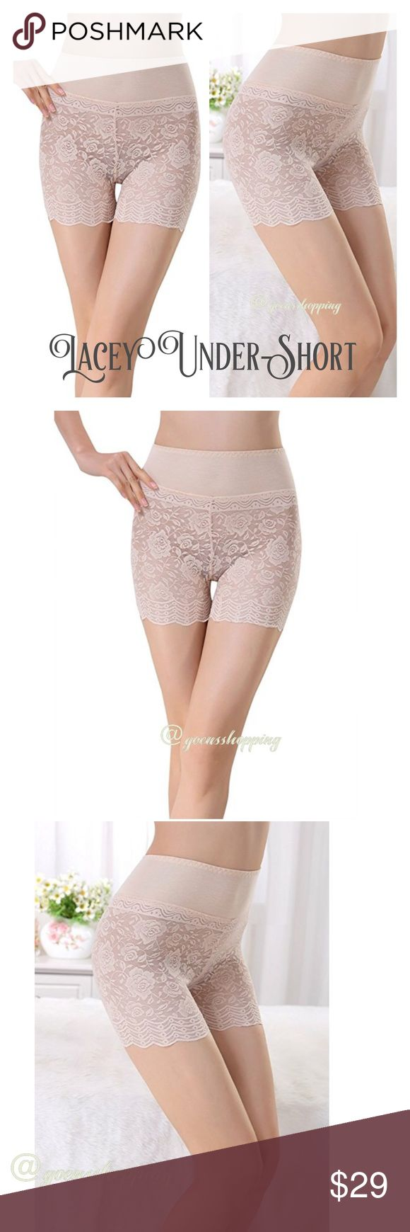 "Lacey Bo-ho Chic Nude Boy Short Leggings Women's Floral Lace Basic High Waist Safety Leggings Shorts Boyshorts OneSize in Skin. NIP! OSFM DISCLAIMER: These run small. I wear an XS and modeled my own pair for your comparison. Approx flat lay measurements: 11"" Waist / 13"" hip / 4"" inseam / 12"" full length. Sheer spandex lightweight fabric. Wear under your favorite shorts, dress or skirt. Please let me know if you have any questions. 30% discount when bundling. No trades! Goensshopping…"