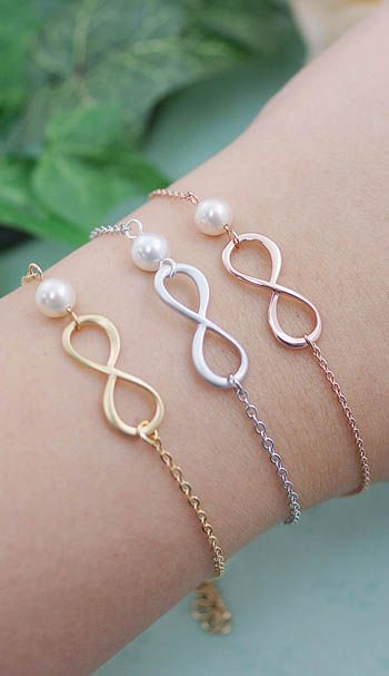 Infinity and pearl Bridesmaid Bracelets from EarringsNation Gold Rose Gold Silver