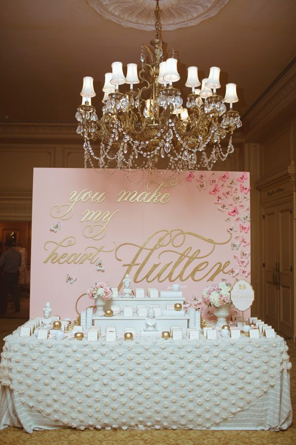 "Pink and gold ""you make my heart go flutter!"" pink and gold dessert bar backdrop. Amorology Weddings."