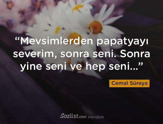 """""""Mevsimlerden papatyayı severim, sonra seni. Sonra yine seni ve hep seni..."""" #cemal #süreya #sözleri #yazar #şair #kitap #şiir #özlü #anlamlı #sözler"""