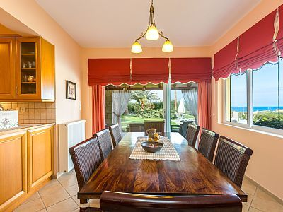 Rethymno villa rental - Dining area on the ground floor with direct access to the pool and garden!