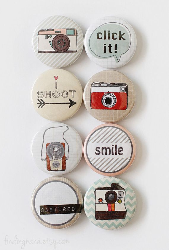 Retro camera buttons for your crafting and Project Life crafting projects - a foam sticker is attached to each button - what fun!