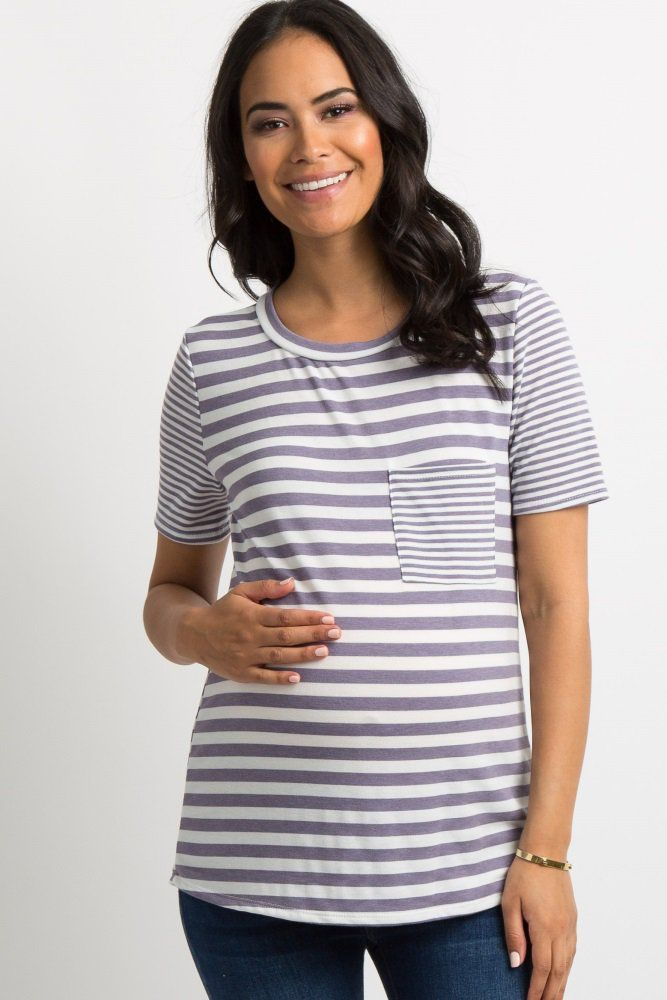 b9fca9841705a Purple Striped Pocket Accent Maternity Top | Maternity photos ...