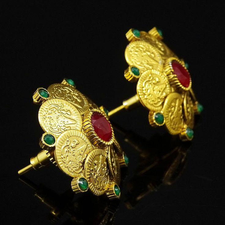 Gold Plated Big Stud Earrings Ginni Coins Polki Traditional Jewelry