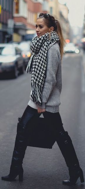 Fall fashion   Houndstooth scarf, grey sweater and over the knee boots