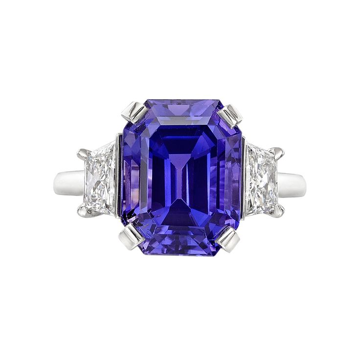 Betteridge Emerald-Cut Purple Sapphire & Diamond Ring ~ Emerald-cut purple sapphire ring in platinum with radiant-cut diamond side stones. GIA-certified: NATURAL SAPPHIRE Carat Weight: 8.54