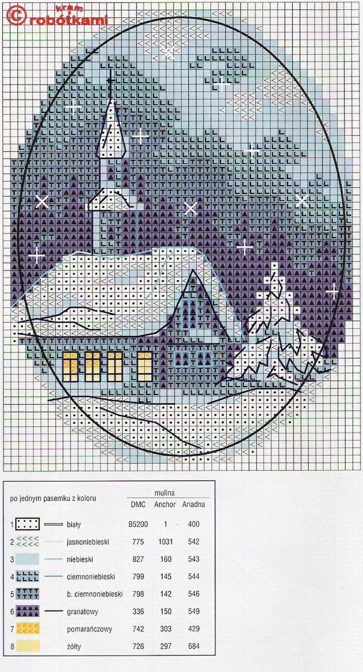 Christmas church  Cross Stitch Pattern