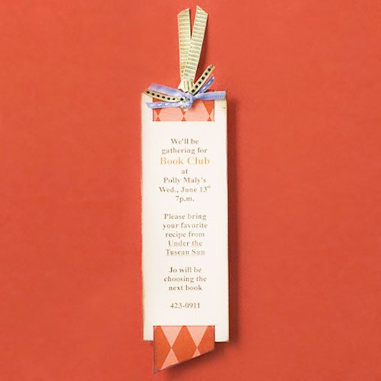 Fun Idea! Make a Bookmark Book Club Invitation http://www.pinterest.com/reasonablepc/ultimate-book-club-party/