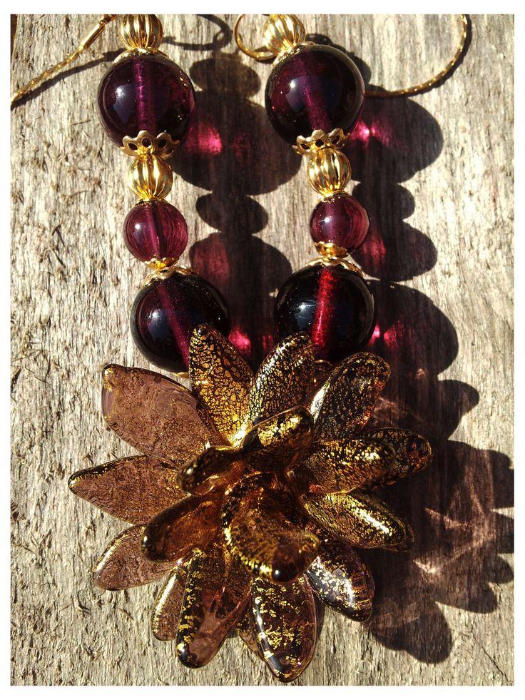 Collana con fiore ametista-oro