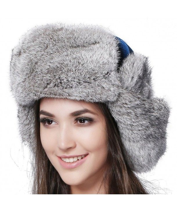 Natural Rabbit Fur Ushanka Trapper Hat Aviator Winter Cap For Women Blue  CB12M9YPSDP | Winter cap, Trapper hats, Caps for women