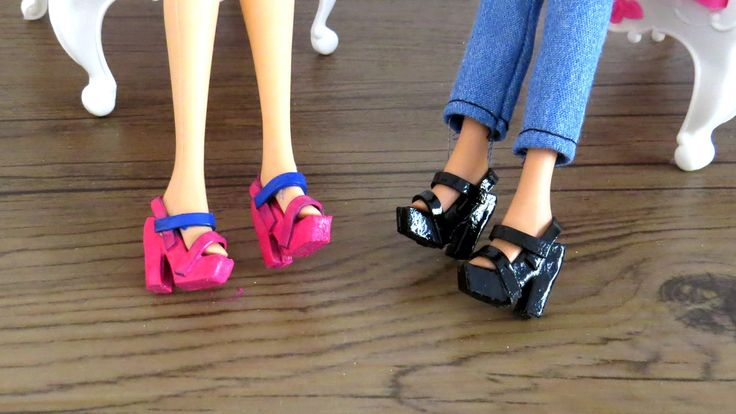 """Como Fazer sapatinho para Barbie, Monster High, Ever After High e outras bonecas"" DIY - How to make high heel sandals for your Barbie and other dolls; Hazlo..."