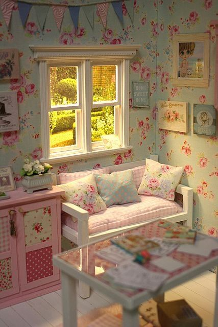 Love the wall paper for a girls room