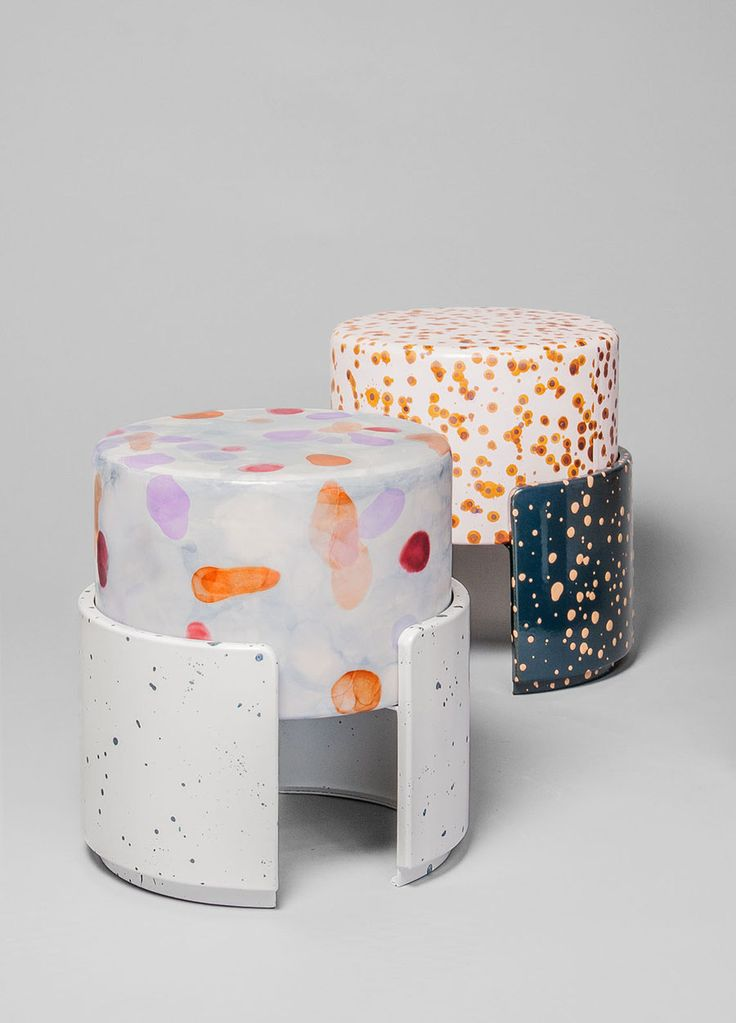 hand-painted stools made from naturally dried and tanned leather, wrapped around metal drums, splattered with organic vegetable stains | Never Too Much, by Sarah Kueng and Lovis Caputo at Kueng Caputo