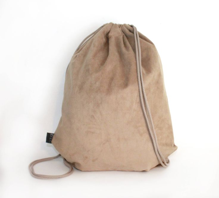 Ecological Suede drawstring bag backpack with waterproof lining and zipper poket by PopaStore on Etsy