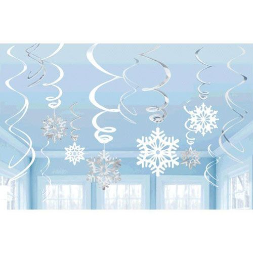 Snowflakes Hanging Swirl Decorations (12pc)*