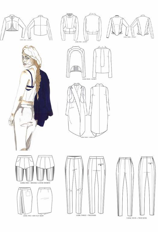 Fashion Portfolio - tailored fashion collection development - fashion design drawings; illustration; fashion sketchbook // Youlia Nagaytseva