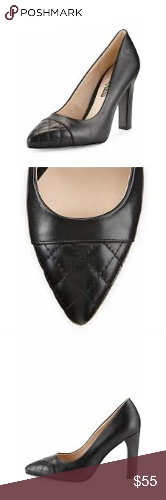 "New Neiman Marcus Quilted Cap-Toe Pump New Neiman Marcus Quilted Cap-Toe Pump. Color is Black. Size 7. Smooth leather pump with pointed, quilted cap-toe. Padded insole. Approx 3 3/4"" stacked heel. Never been worn. Final sale. Neiman Marcus Shoes Heels"