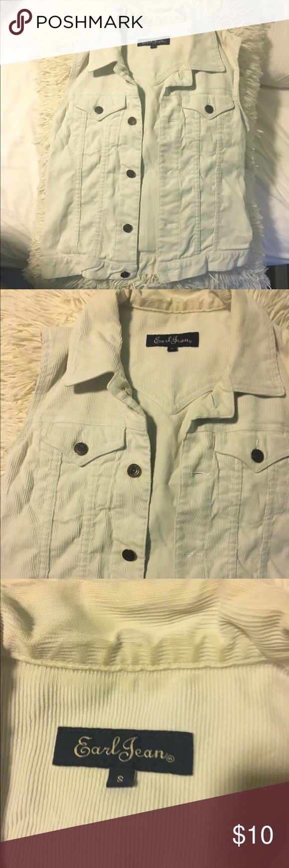 White Denim Vest Brand new, never worn! Earl Jeans Jackets & Coats Vests