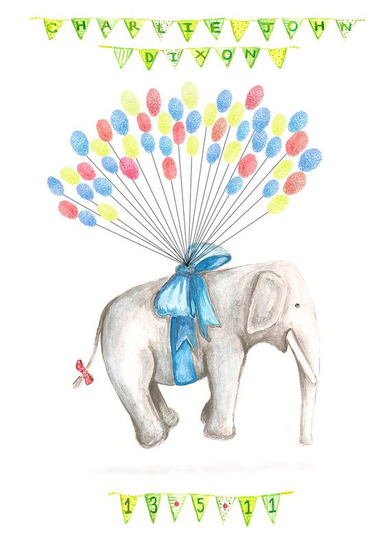 Medium Fingerprint Guest book, Hand Painted Floating Elephant with balloons 3 colours, Custom Order