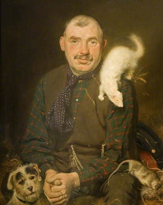Official Rat Catcher to the City of Birmingham, 1927, Arthur Charles Shorthouse; his job is symbolised by the dead rat and the tools of his trade: a ferret and terrier.