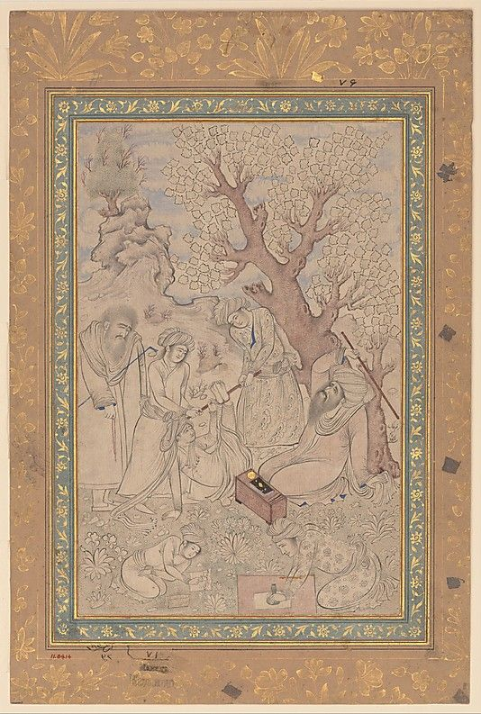 Chastisement of a Pupil Painting by Muhammad Qasim (active ca. 1600–d. 1659) Date: dated 114 (A.H. 1014/ A.D. 1605–6) Geography: Iran, Mashhad Medium: Ink, watercolor, and gold on paper Dimensions: Painting: H. 9 3/4 in. (24.8 cm) W. 6 5/16 in. (16 cm) Page: H. 13 5/8 in. (34.6 cm) W. 9 in. (22.9 cm) Mat: H. 19 1/4 in. (48.9 cm) W. 14 1/4 in. (36.2 cm) Frame: H. 21 5/8 in. (55 cm) W. 16 3/4 in. (42.5 cm) D. 1 3/16 in. (3 cm) Metropolitan Museum of Art 11.84.14