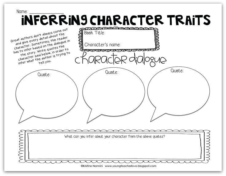 FREE! Inferring Character Traits Through Dialogue blog post (Plus a Free Graphic Organizer!)- Young Teacher Love by Kristine Nannini