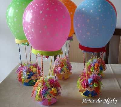 Hot air balloon centerpieces- would do like the MLP air balloon