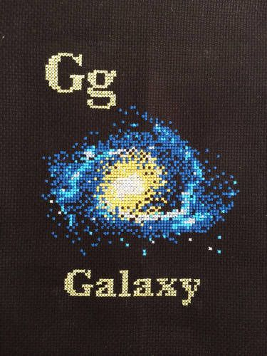 G is for Galaxy... part of a series of space themed cross stitch pieces.