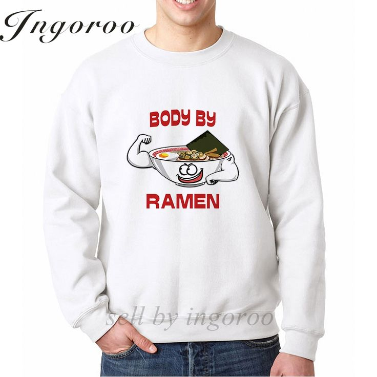 >> Click to Buy << Ingoroo Body By Ramen Print Men Street White Sweatshirt Off White Mens Hoodie Novelty Gifts Men Matching Couple Sweatshirts #Affiliate