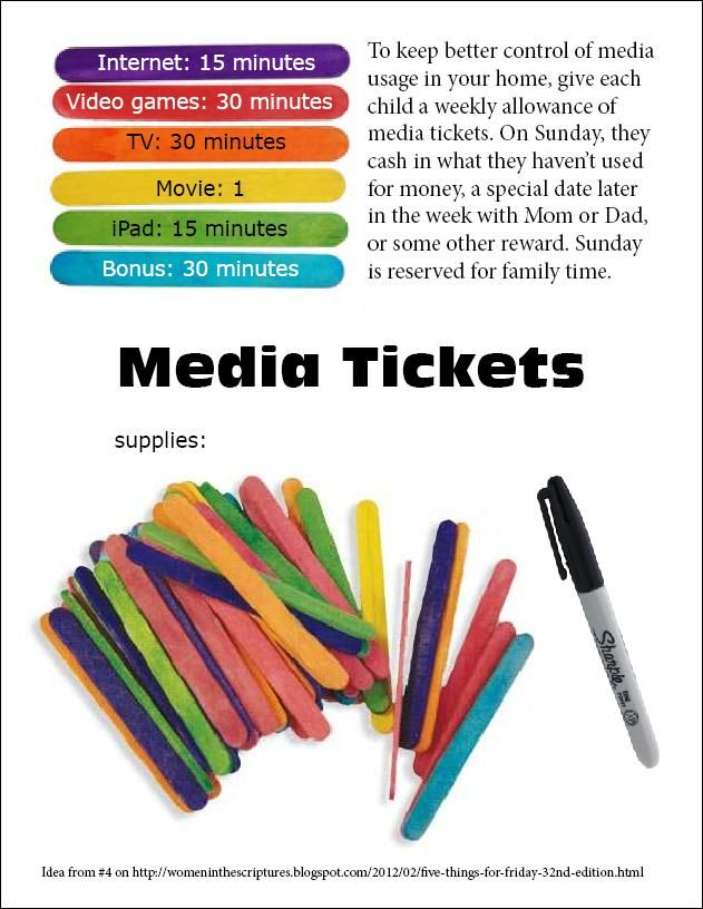 Keep track of kids' media intake. Idea from #4 on http://womeninthescriptures.blogspot.com/2012/02/five-things-for-friday-32nd-edition.html