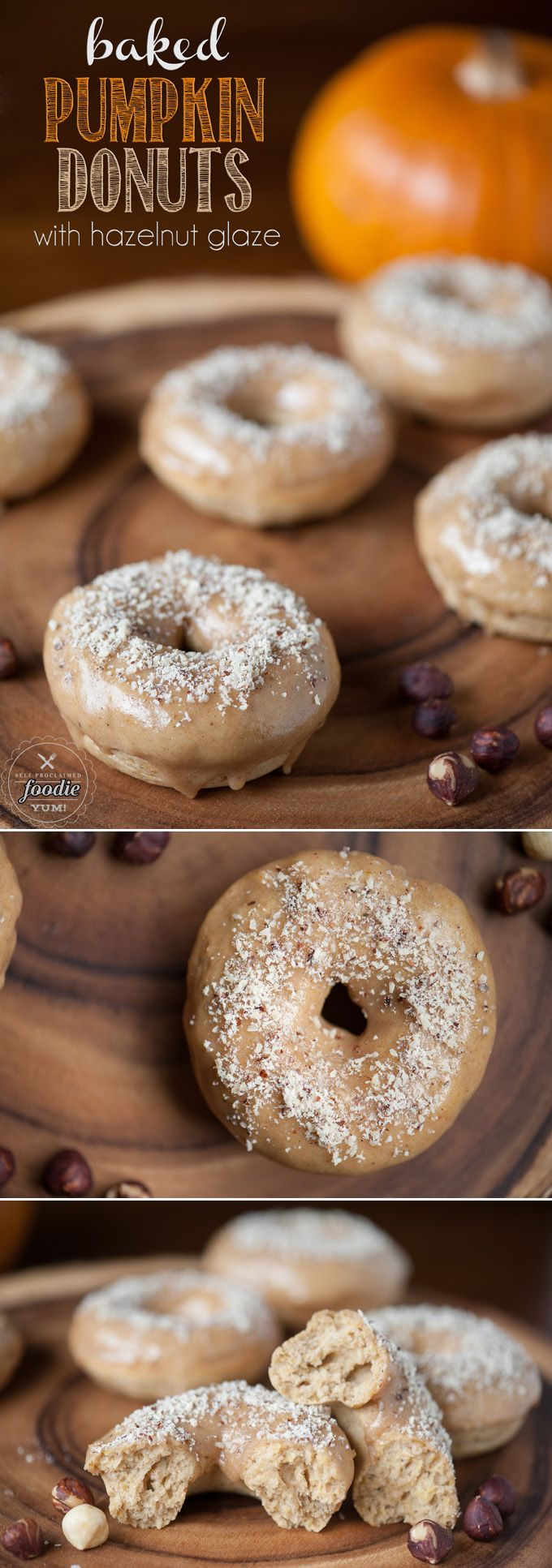 These Baked Pumpkin Donuts with hazelnut glaze are simple to make and are the perfect comfort food Fall treat.