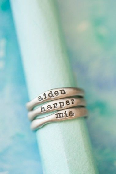 Oh my goodness these are gorgeous! Hand-molded and cast in 10k gold, these rings have a beautiful organic shape and feel. Each ring has a hammered texture. Customize your ring with a special name or short phrase and stack them up for an up-to-date look!