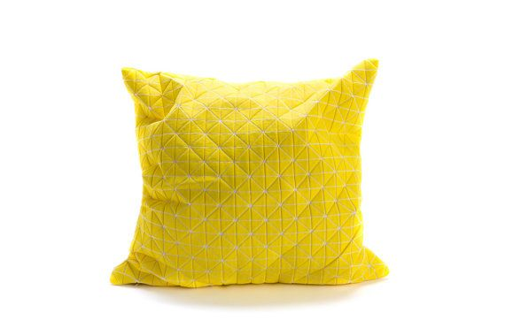 Yellow origami geometric decorative pillow cover 50x50 cm, 19.5X19.5 inch, Printed folding cushion Home decor accessory