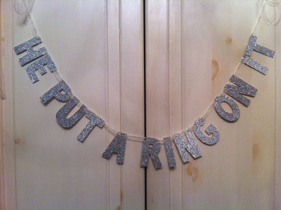 He Put A Ring On It Banner -- Bridal Shower or Bachelorette Party decoration, by hawthorneave