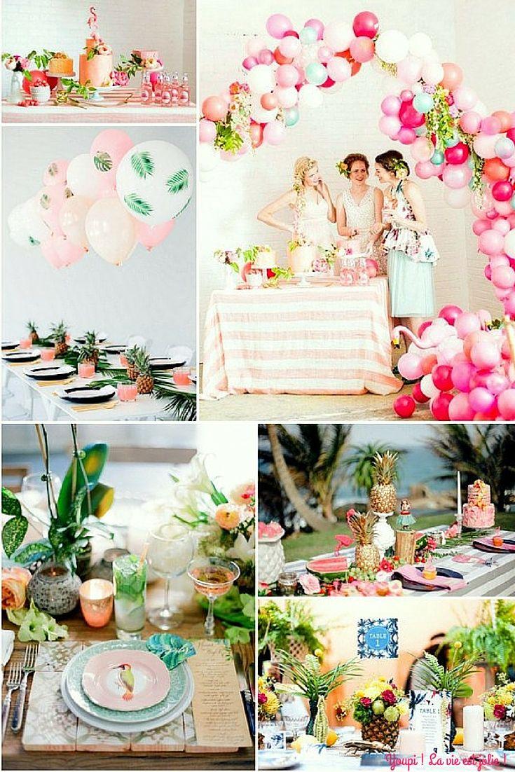 Envie d'une déco pop, coloré et qui sent bon les vacances: On fonce pour la déco tropicale ! #mariage #tropical