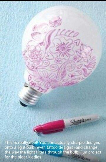Sharpie design on a lightbulb