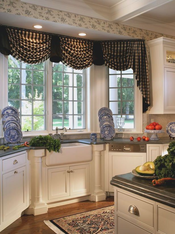 Bay window kitchen treatments over sink google search for Bay window treatments for kitchen ideas