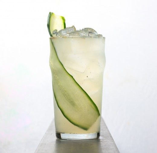 """The signature """"H"""" cocktail from downtown's Quality Social. A delicious combination of cumcumber and lime flavors.: Add Ice, Cucumber Slices, Ground Black, Black Peppers, Limes Juice, Cucumber Vodka Drinks, Collins Glasses, Simple Syrup, Cocktails Shakers"""