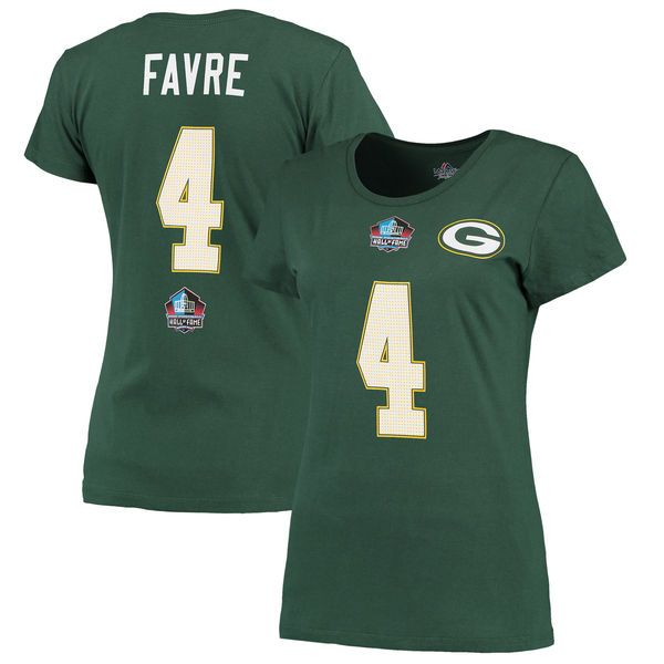 Brett Favre Green Bay Packers Majestic Women's Hall of Fame Fair Catch Name & Number T-Shirt - Green - $29.99