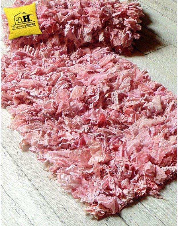 Tappeto shabby chic Rag Collection Blanc Mariclo Multicolore (Rosa / Fucsia)