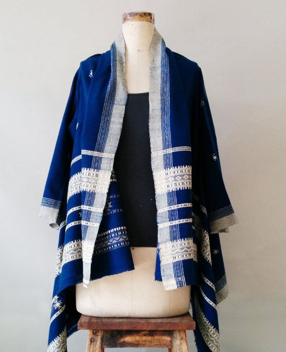 Blue Kutch Handwoven and Embroidered Woolen Tribal by MograDesigns, $80.00