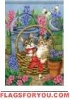 Kitten Basket Garden Flag